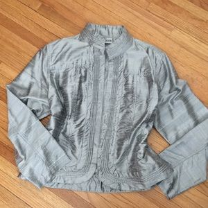 Chico's silver slub silk light jacket